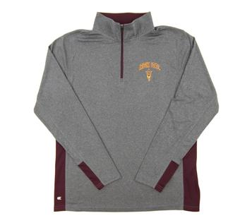 Arizona State Sun Devils Colosseum Gray Ridge Runner 1/4 Zip Performance Long Sleeve Shirt (Adult Medium)