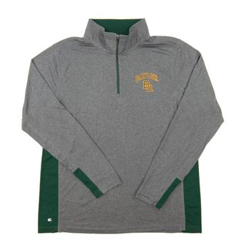 Baylor Bears Colosseum Gray Ridge Runner 1/4 Zip Performance Long Sleeve Shirt (Adult XX-Large)