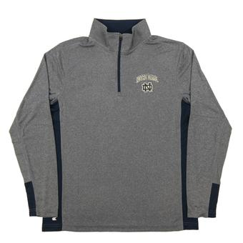 Notre Dame Colosseum Gray Ridge Runner 1/4 Zip Performance Long Sleeve Shirt (Adult Medium)