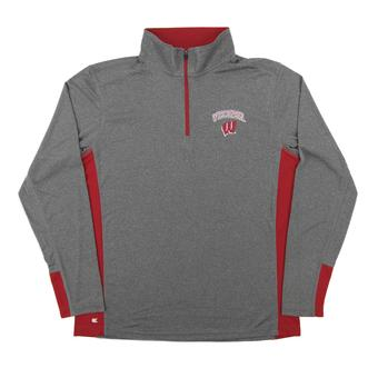 Wisconsin Badgers Colosseum Gray Ridge Runner 1/4 Zip Performance Long Sleeve Shirt (Adult Medium)