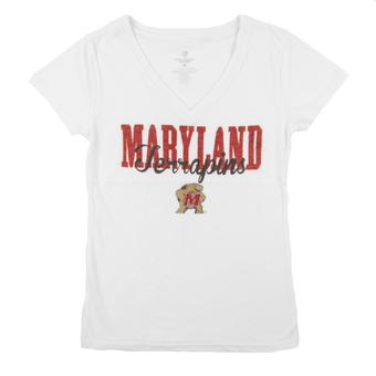 Maryland Terrapins Colosseum White Open Frame V-Neck Tee Shirt (Womens L)