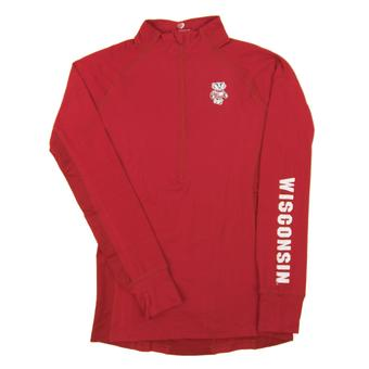 Wisconsin Badgers Colosseum Red Personal Best 1/4 Zip Performance Long Sleeve Shirt (Womens M)