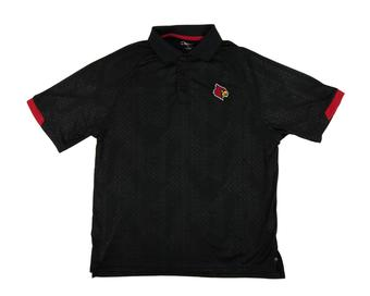 Louisville Cardinals Colosseum Black Gridlock Chiliwear Performance Polo Shirt (Adult XXL)