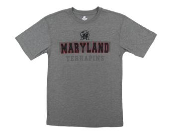 Maryland Terrapins Colosseum Grey Prism Dual Blend Tee Shirt (Adult Medium)