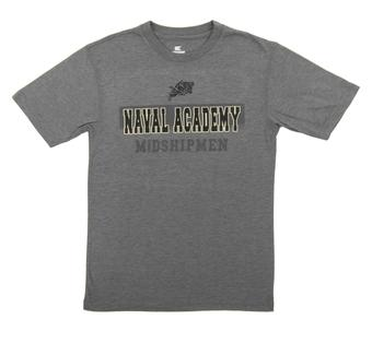 Naval Academy Midshipmen Colosseum Grey Prism Dual Blend Tee Shirt (Adult X-Large)