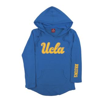 UCLA Bruins Colosseum Blue Walkover Dual Blend Fleece V-Neck Hoodie (Womens Large)
