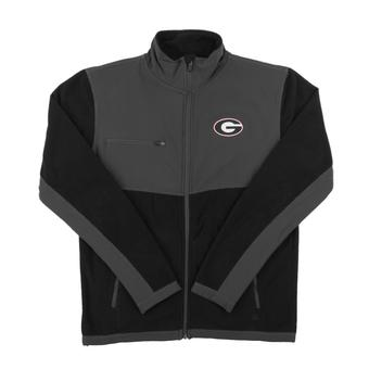 Georgia Bulldogs Colosseum Black & Gray Mesa Corded Polar Full Zip Fleece (Adult Large)