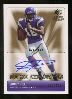 2007 Upper Deck SP Rookie Threads Rookie Exclusive Autographs #RESR Sidney Rice Autograph /100