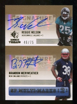 2007 Upper Deck SP Rookie Threads SP Multi Marks Autographs Dual #NM Reggie Nelson Brandon Meriweather /75