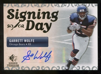 2007 Upper Deck SP Rookie Threads Signing Day Autographs #SDAGW Garrett Wolfe Autograph