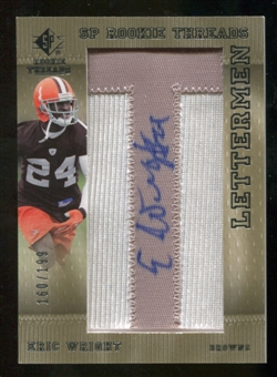 2007 Upper Deck SP Rookie Threads Rookie Lettermen Silver #102 Eric Wright Autograph /199