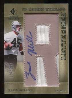 2007 Upper Deck SP Rookie Threads Rookie Lettermen Silver #141 Zach Miller Autograph /199