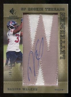 2007 Upper Deck SP Rookie Threads Rookie Lettermen Silver #127 Darius Walker Autograph /199