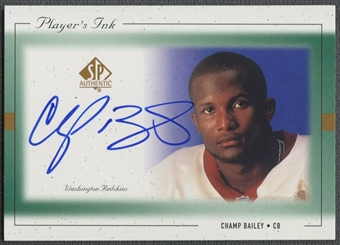 1999 SP Authentic #CBA Champ Bailey Player's Ink Green Auto