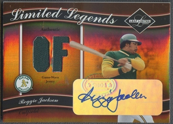 2004 Leaf Limited #15 Reggie Jackson Legends Material Position Jersey Auto #36/50