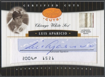 2004 Leaf Certified Cuts #43 Luis Aparicio Check Signature Material Blue Pants Auto #42/50