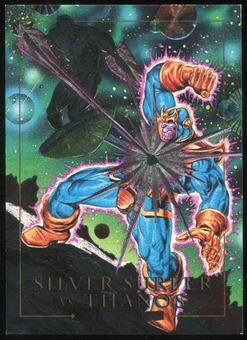 1992 Fleer Marvel Masterpieces Battle Spectra #2D Silver Surfer vs. Thanos