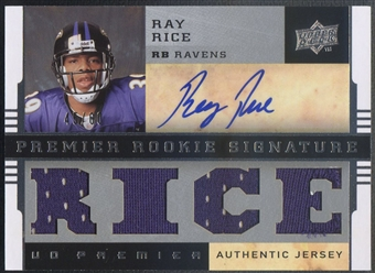 2008 Upper Deck Premier #133 Ray Rice Silver Rookie Jersey Auto #45/60