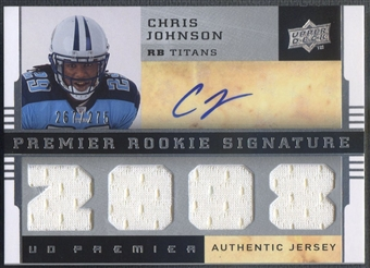 2008 Upper Deck Premier #105 Chris Johnson Rookie Jersey Auto #267/275