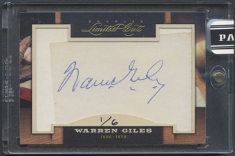 2011 Donruss Limited Cuts #335 Warren Giles Cut Auto #1/6
