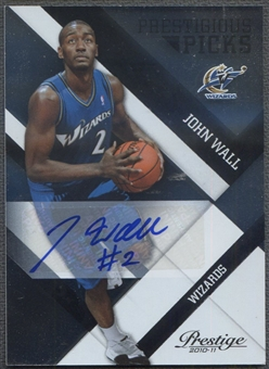 2010/11 Prestige Prestigious #1 John Wall Rookie Picks Signatures Black Auto #49/49