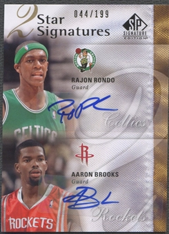 2009/10 SP Signature Edition #2SRB Rajon Rondo & Aaron Brooks 2 Star Signatures Auto #044/199