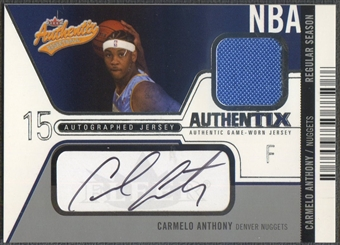 2003/04 Fleer Authentix #AJACA Carmelo Anthony Rookie Jersey Authentix Auto #067/100