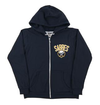 Buffalo Sabres Soft As A Grape Navy Womens Dual Blend Full Zip Hoodie (Womens Large)
