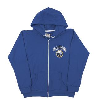 Buffalo Sabres Soft As A Grape Royal Womens Dual Blend Full Zip Hoodie (Womens Large)