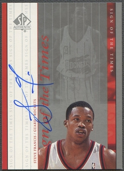 1999/00 SP Authentic #SF Steve Francis Sign of the Times Rookie Auto