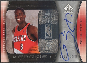 2005/06 SP Authentic #96 Martell Webster Rookie Auto #0208/1299