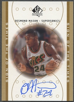 2000/01 SP Authentic #DE Desmond Mason Sign of the Times Rookie Auto