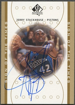 2000/01 SP Authentic #JS Jerry Stackhouse Sign of the Times Auto