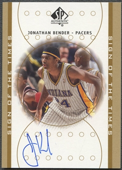 2000/01 SP Authentic #JB Jonathan Bender Sign of the Times Auto