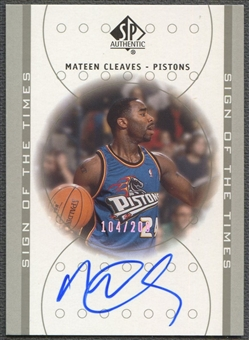 2000/01 SP Authentic #MC Mateen Cleaves Sign of the Times Platinum Rookie Auto #104/200