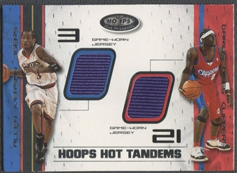 2001/02 Hoops Hot Prospects #13 Allen Iverson & Darius Miles Hot Tandems Jersey #083/100
