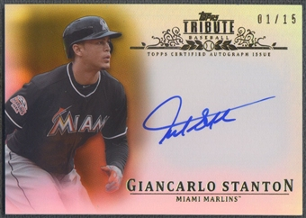 2013 Topps Tribute #GS Giancarlo Stanton Gold Auto #01/15
