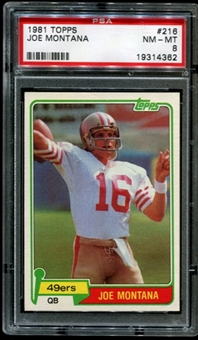 1981 Topps Football #216 Joe Montana Rookie PSA 8 (NM-MT) *4362