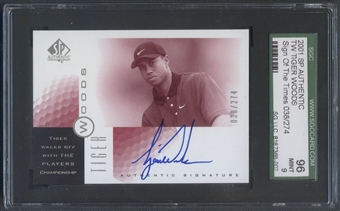 2001 SP Authentic #TW2 Tiger Woods Sign of the Times Red Player's Rookie Auto #038/274 SGC 96