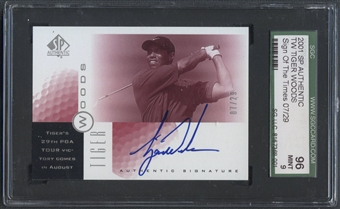 2001 SP Authentic #TW5 Tiger Woods Sign of the Times Red Rookie Auto #07/29 SGC 96