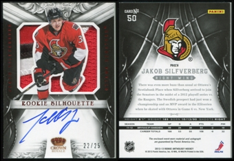 2012/13 Crown Royale Rookie Silhouette Patch Autographs #50 Jakob Silfverberg 22/25