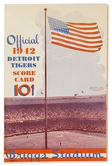 1942 Detroit Tigers Official Scorecard Briggs Stadium