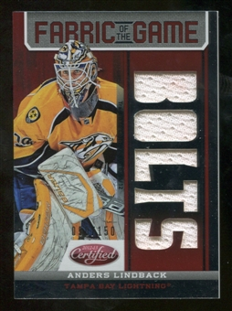 2012/13 Panini Certified Fabric of the Game Mirror Red Jersey Team Die Cut #49 Anders Lindback /150