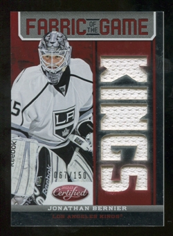 2012/13 Panini Certified Fabric of the Game Mirror Red Jersey Team Die Cut #62 Jonathan Bernier /150