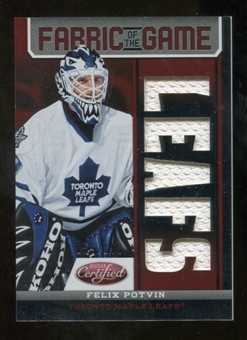 2012/13 Panini Certified Fabric of the Game Mirror Red Jersey Team Die Cut #89 Felix Potvin /150