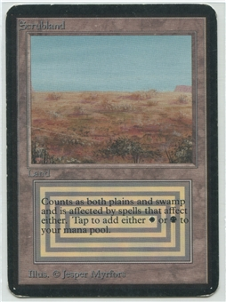 Magic the Gathering Alpha Single Scrubland - MODERATE PLAY (MP)