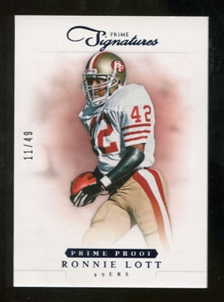 2012 Panini Prime Signatures Prime Proof Blue #134 Ronnie Lott /49