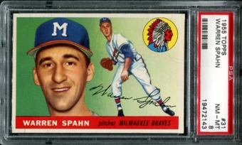 1955 Topps Baseball #31 Warren Spahn PSA 8 (NM-MT) *2143