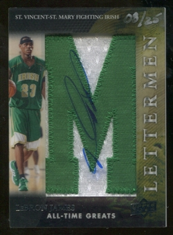 2012 Upper Deck All-Time Greats Letterman Autographs #LLJ LeBron James 8/25