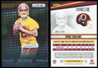 2012 Panini Rookies and Stars Longevity Parallel #185 Kirk Cousins RC 147/249